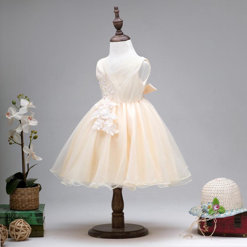 Robe de princesse pour enfants robes formelles pour les filles enfants fête de bal tutu jupes robe de demoiselle d'honneur de mariage avec des fleurs de dentelle C-3