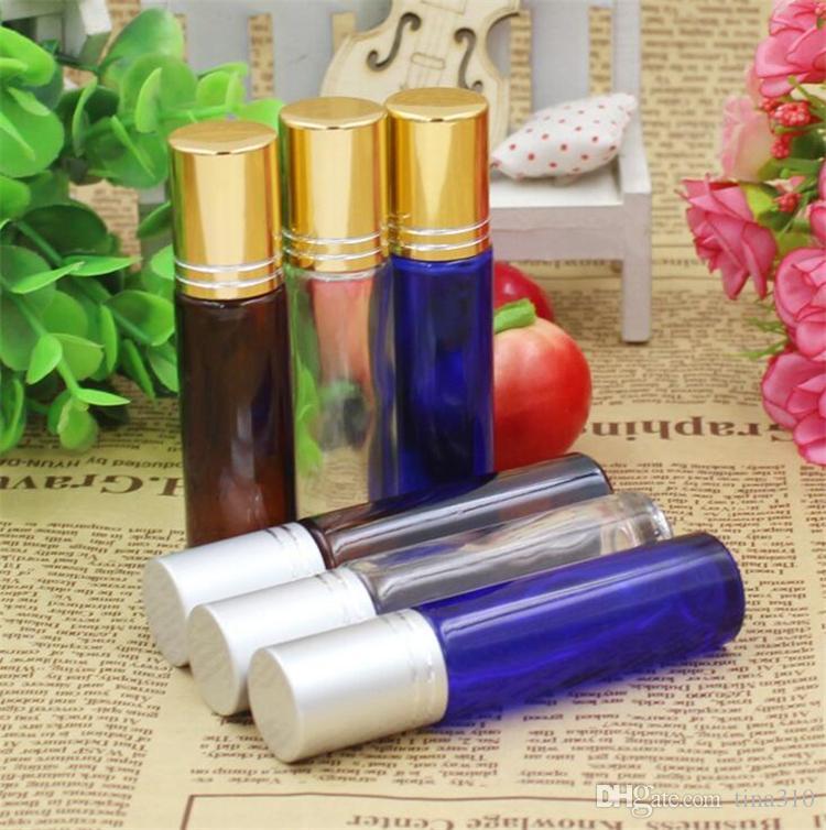 Nuevo Portátil 10ML MINI ROLL ON Perfume botella de vidrio PERFUME Marrón BOTELLAS DE CRISTAL GRUESAS Botella de ACEITE ESENCIAL GLASS Roller ball 4554