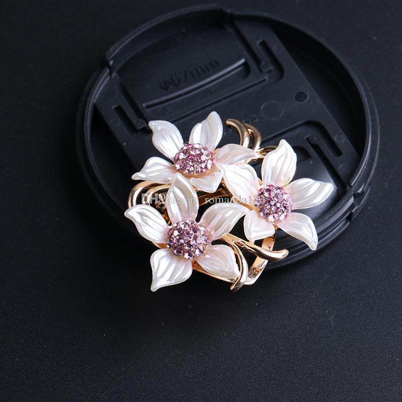 Pin del Brooch del fiore della clip della clip della sciarpa del Pin del Hijab di Pin del Rhinestone di lusso di scopo doppio Trasporto libero del DHL