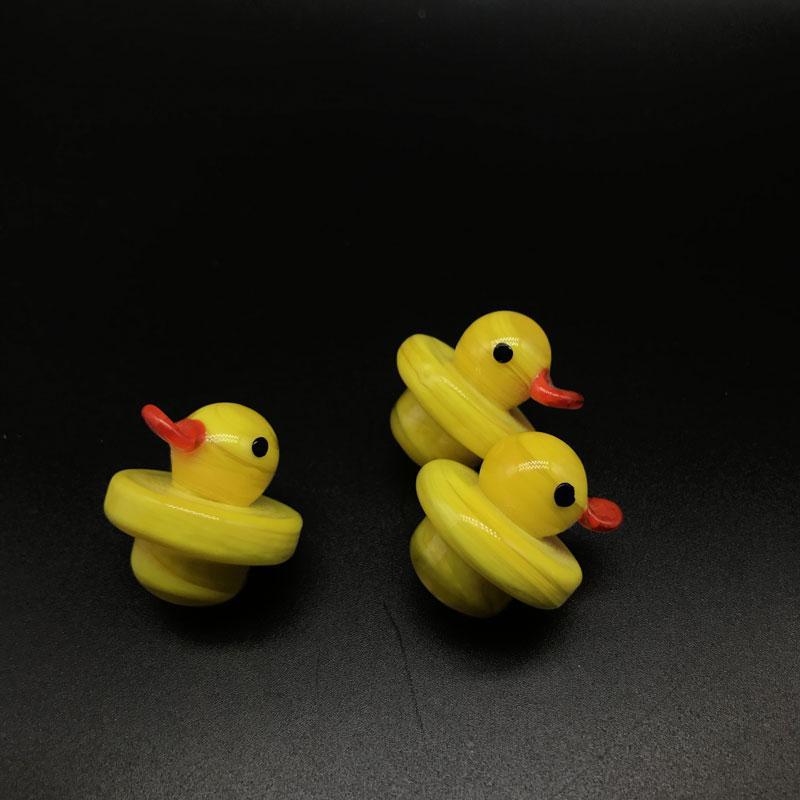 Glas Blase Carb Cap mit gelben Ente Stil dickes Glas 25mm OD für XL Flat Top Quarz Banger Nails Quarz Thermal Banger
