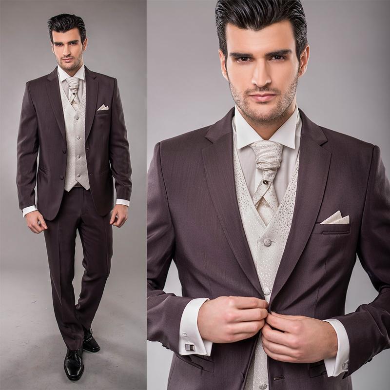 2015 Sfani New Fashion Custom Made Slim Fit Due pulsanti Smoking dello sposo formale Mens Wear Abiti da sposo da sposa Jacket + Pants + Vest + Tie