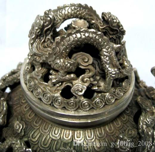 Rare tibet chinois argent sculpté FOO DOG dragons encensoir / brûleur d'encens / livraison gratuite