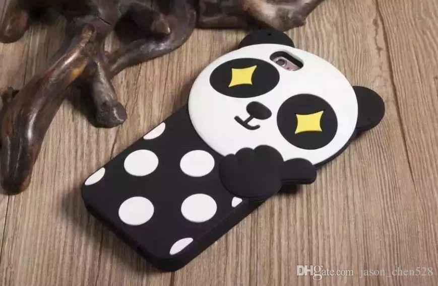 """New 3D silicone case Cute Cartoon Wave point panda Soft Silicone Cover Case For iPhone 5 5S SE 6/6S 4.7'' 6/6S plus 5.5"""" case"""