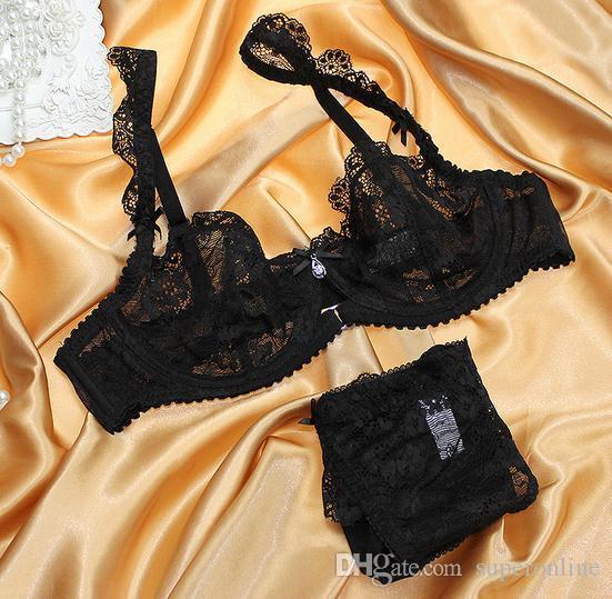 유럽 브랜드의 새로운 섹시한 삼각 브라 레이스 섹시한 란제리 브라 세트 익스텐더 자수 통기성 유방 여성 얇은 브라 간략한 세트