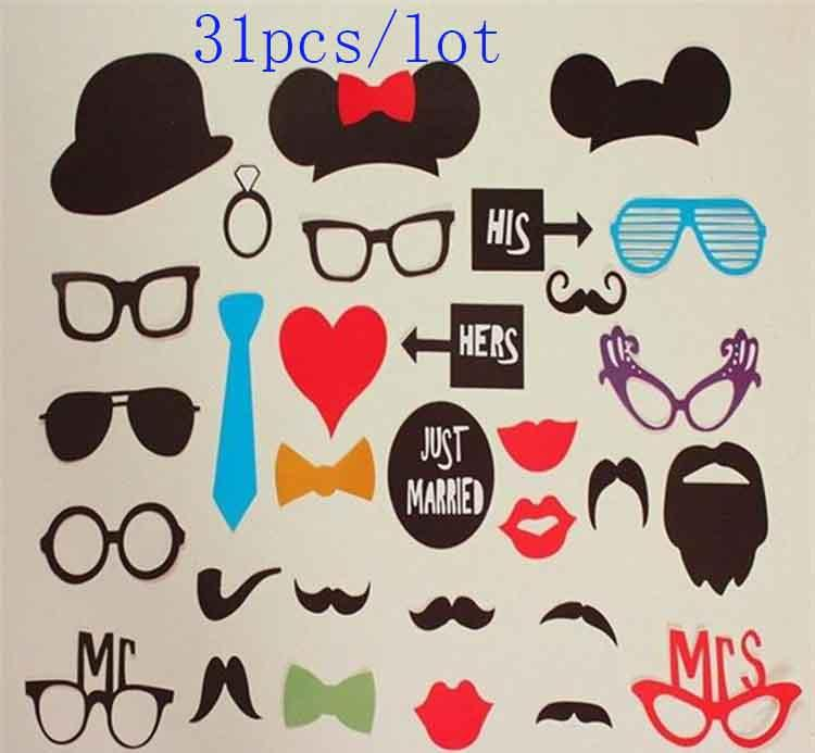 Christmas supplies 31 pcs/set Wedding Event Photo Booth Props Glasses Mustache Lip On A Stick Party DIY Funny Favor Supplies