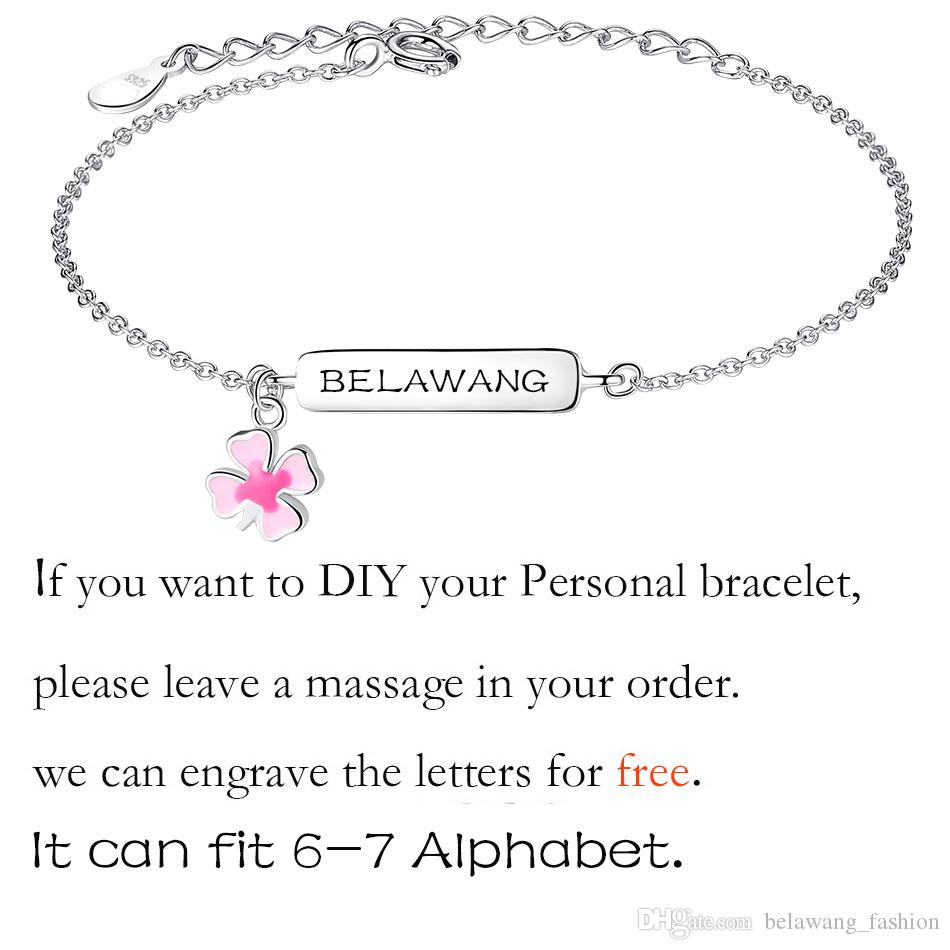 BELAWANG 925 Sterling Silver Enamel Flower Children Bracelets Personalized Letters or Name for Free Girls Jewelry 11-15cm for 8-16 Years Old