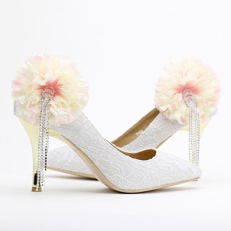 Women White Wedding Shoes 7cm 9cm High Heels Comfortable Tassel Diamond Bridal Flowers Stiletto Pumps Elegant Quality Tall China Shoe Ark