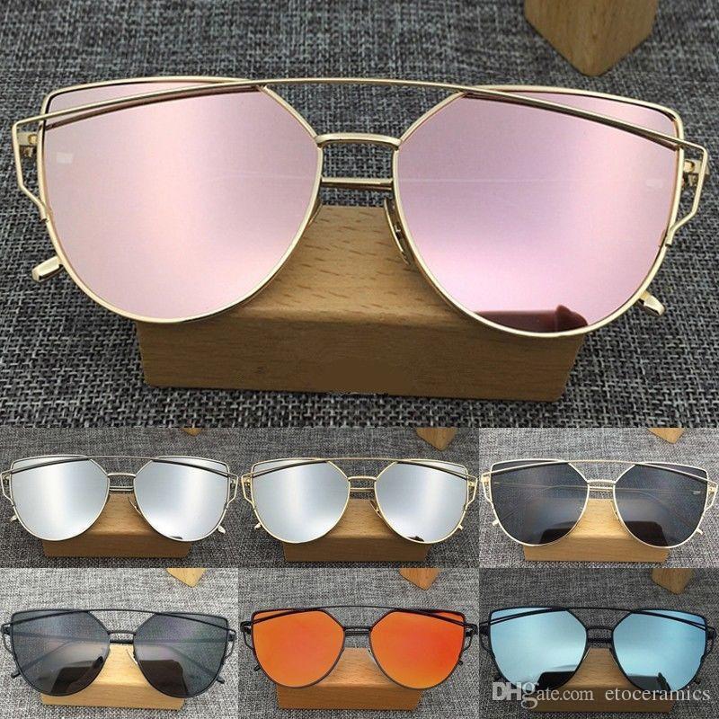 Occhiali da sole con montatura in metallo specchiato da donna Occhiali da sole oversize con occhio di gatto da donna Novità