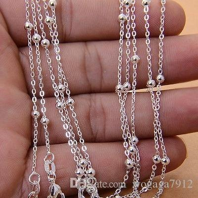 16-30 дюймов мода ювелирные изделия ожерелье Оптовая много стерлингового серебра 925 ювелирные изделия 1 мм мяч бусины цепи ожерелье