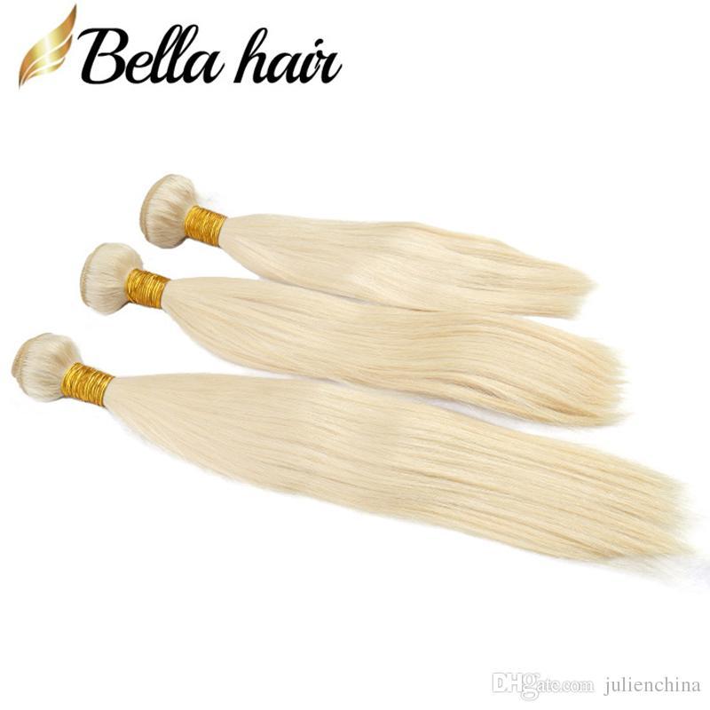 Bella Hair®10A Honey Blonde индийские прямые человеческие волосы переплетения пучки с 13 * 4 фронтальная закрытие С детские волосы блондинка расширение #613 4 шт. / лот