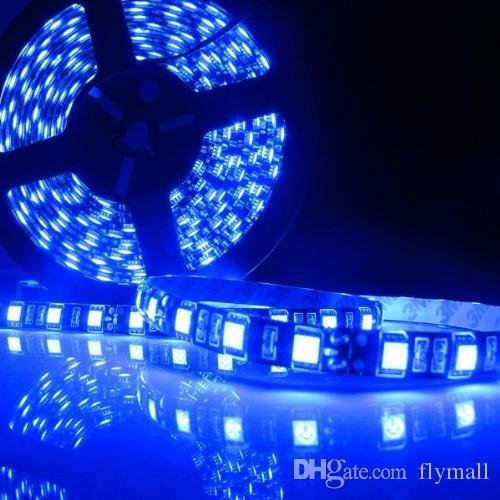 New 5M Black PCB 5050 16.4ft SMD 300LEDs Led Strip Light Flexible RGB White Warm Blue Red LED Strips Waterproof Car Motorbike LED Lighting