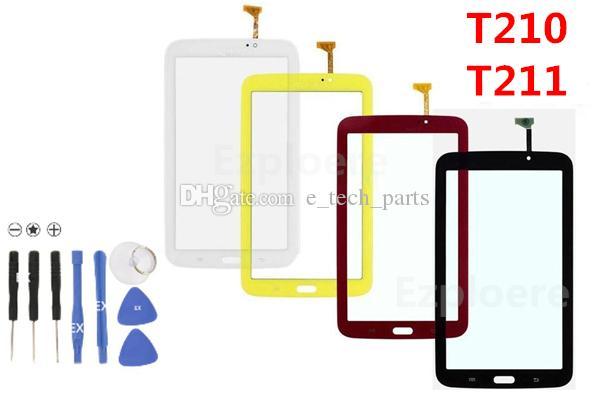 لسامسونج جالاكسي تاب 3 7.0 T210 T211 استبدال لوحة شاشة T2105 P3210 تعمل باللمس محول الأرقام زجاج الأبيض والأسود الأصفر أجزاء DHL