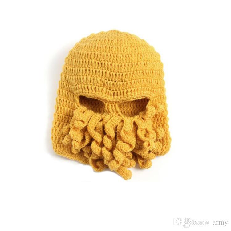 Novelty Handmade Knitting Wool Funny Beard Octopus Hats Caps Crochet Knight Beanies Ski Face Mask Knit Hat Halloween Gift