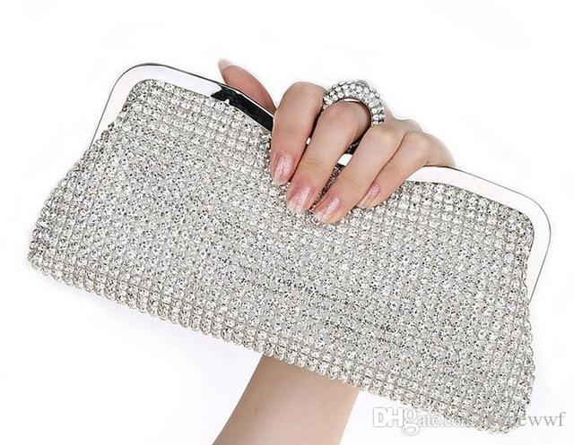 NEW Rhinestones Women Clutch Bags Diamonds Finger Ring Evening Crystal Wedding Bridal Handbags Purse Black Gold Silver Bag