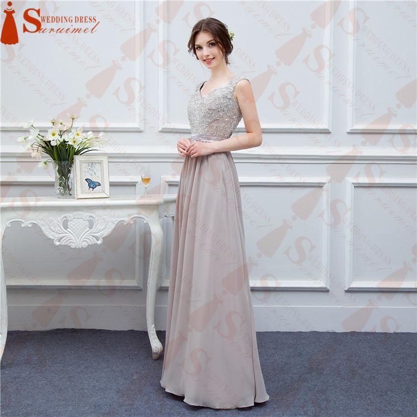 Gray Bridesmaid Dresses Long Chiffon High Quality Embroidery Back ...
