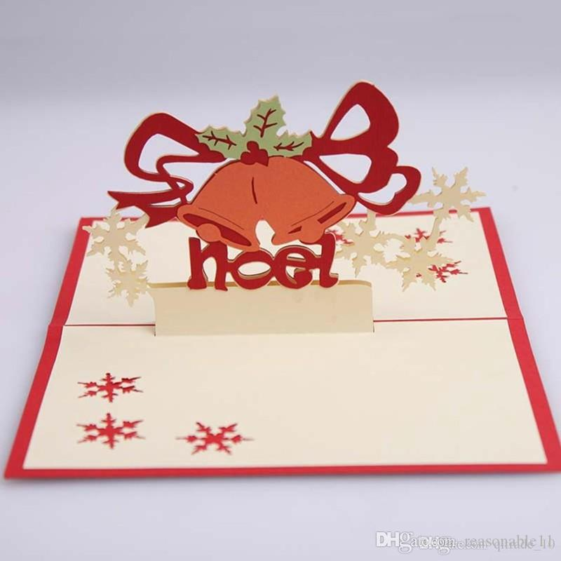 3D Christmas Card Postcards Pop Up Greeting Cards Christmas Bell Party Invitations Paper Card Personalized Keepsakes Handmade