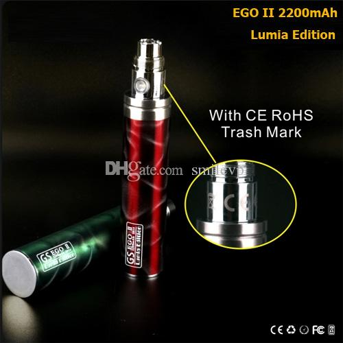 Best Ego 2200mah Battery 3D Lumia Edition E Cigarette GS Ego II 2200 mah Huge Capacity Ecig Batteries For Vaporizer 510 Thread Atomizers