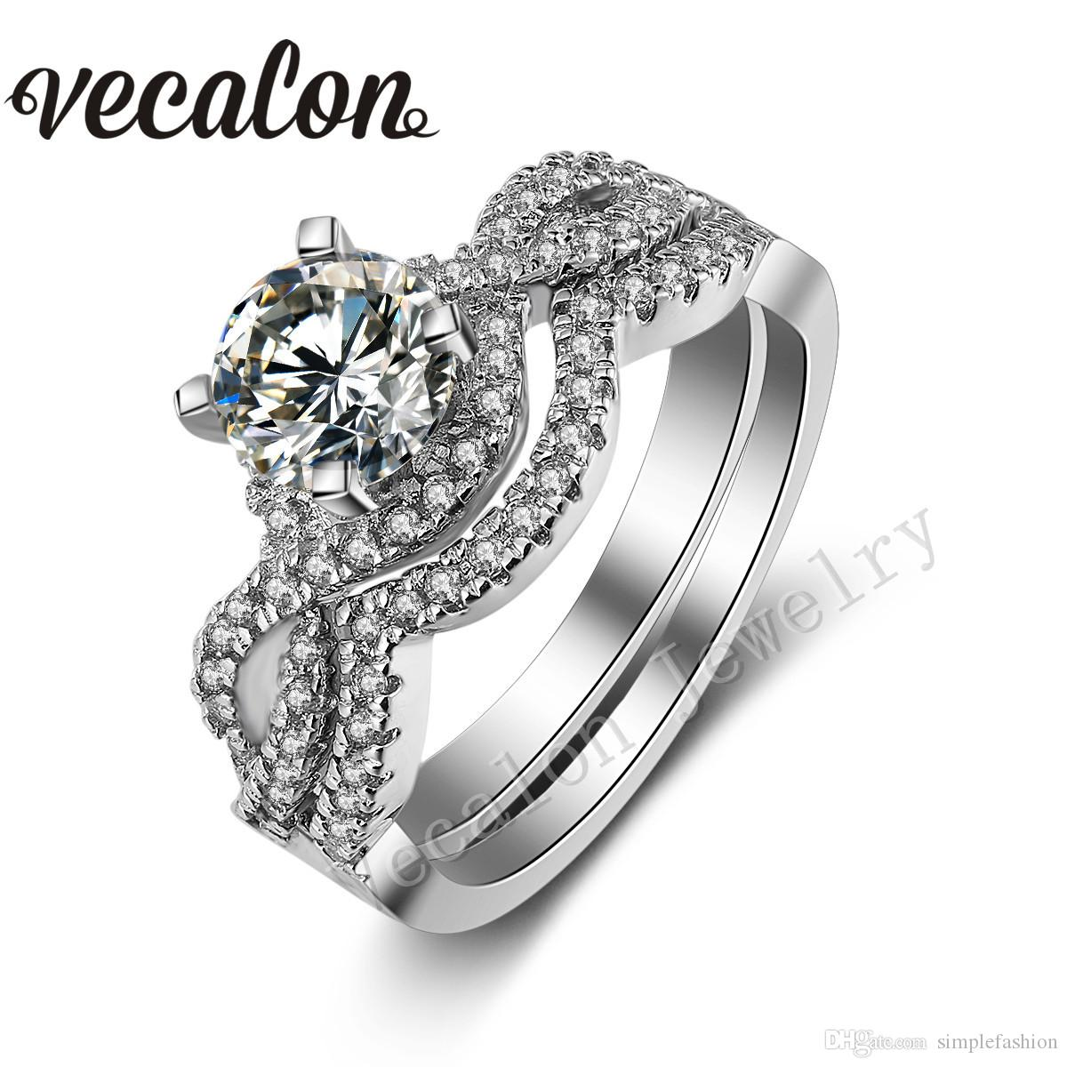 Vecalon Classic Corss Band Wedding Band Set para mujeres Diamante simulado Cz 10KT White Gold Filled Women Party ring