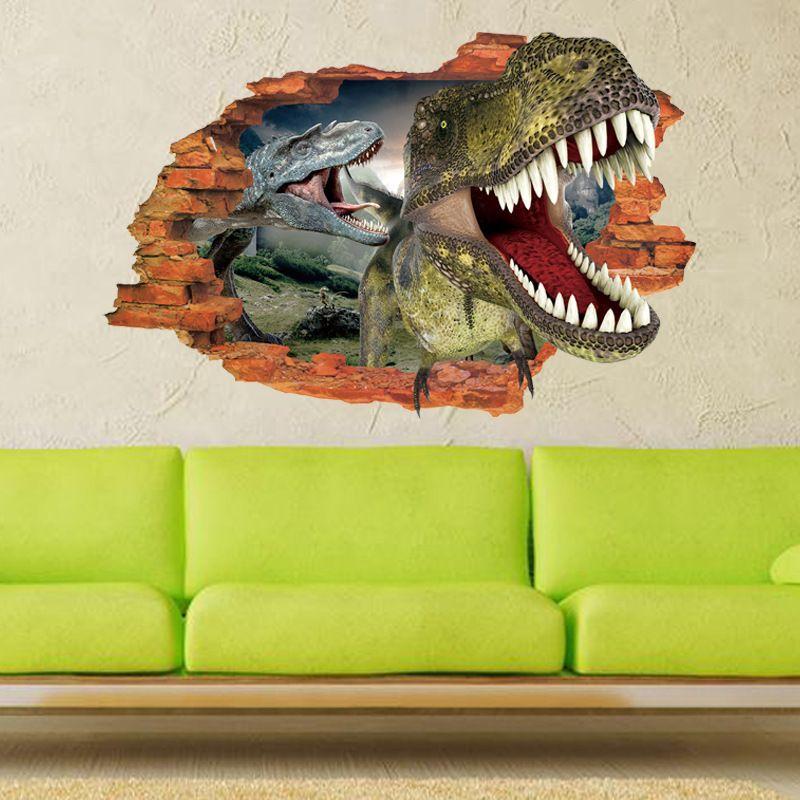 3D dinosaur stickers cartoon wall stickers sitting room children bedroom background adornment waterproof PVC wall stickers