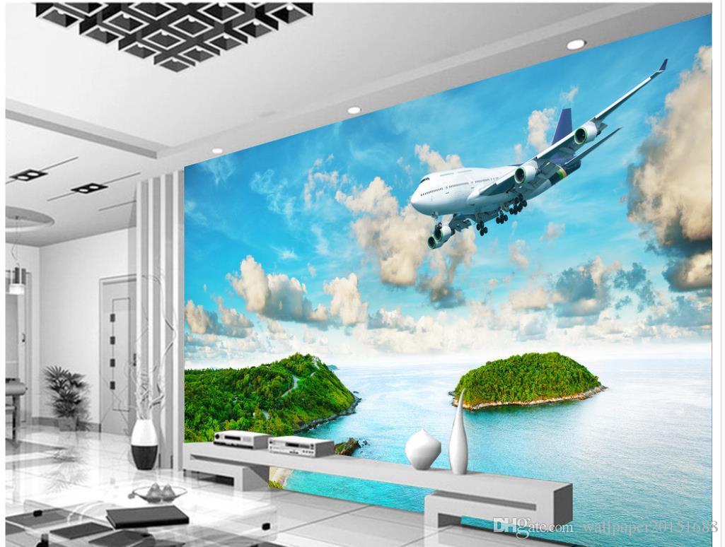 3D Wallpaper für Zimmer Seaside Island tropischen Regenwald Flugzeug TV Wand klassische Tapete für Wände