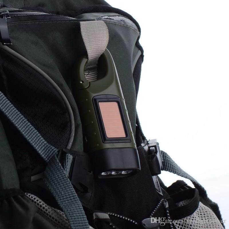 Portable LED Hand Crank Dynamo Solar Power Flashlight Torch Outdoor Camping Mountaineering Night Linternas