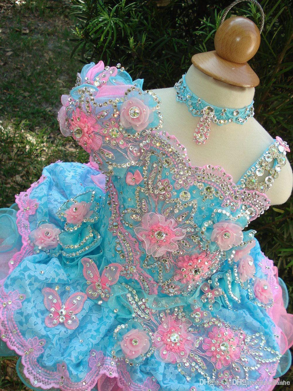 Cute Girl's Cupcake Pageant Vestidos 2017 vestido de Baile Rendas Flor Menina Vestidos Feitas À Mão Flores Contas Cristais Tiers Criança Pageant Vestidos