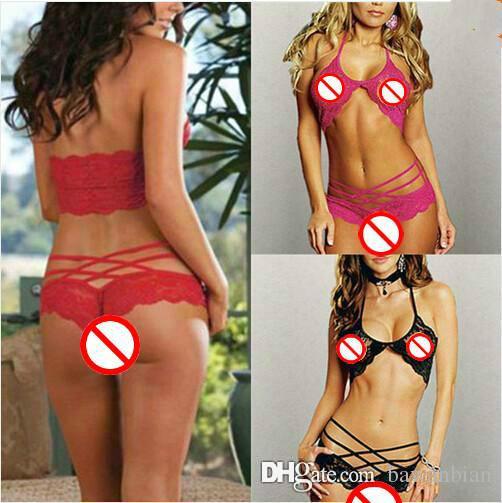 Mulheres Lingerie Sexy Sleepwear Moda Sexy Atrair G-string Lace Underwear 3 Cores Opcionais Para Frete Grátis