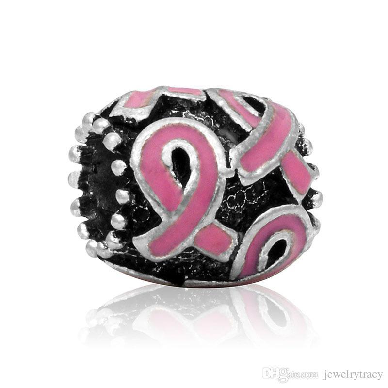 Breast Cancer Awareness Jewelry DIY Interchangeable Pink Ribbon purple ribbon Charms beads Fits European Pandora Jewelry Bracelets