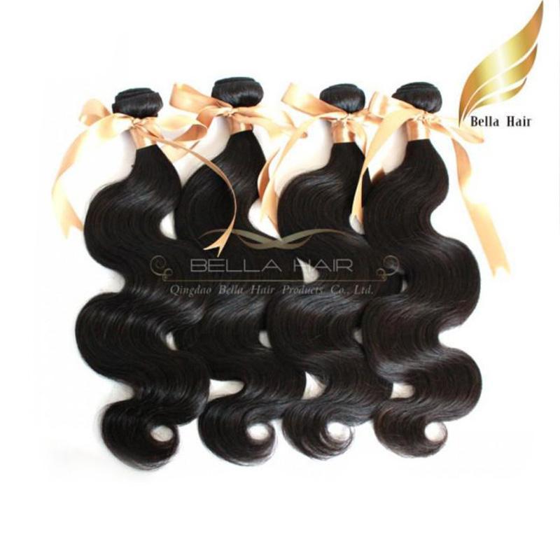 100%モンゴル人間の髪2本/ロット未処理のバージンヘアー織りボディウェーブヘアーフ延長伸びベラエア自然色