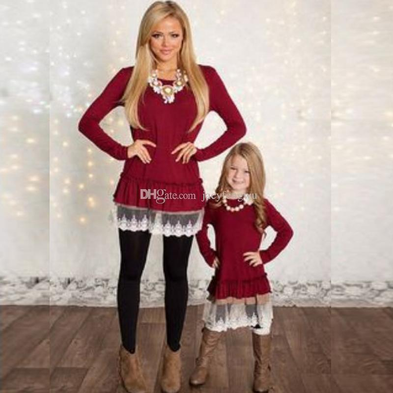Mother And Daughter Clothes Family Matching Christmas Dresses For Girl Lace  Skirt Baby Outfit Girls Fall Fashion Children Costume QZZW021 Father Baby  ... - Mother And Daughter Clothes Family Matching Christmas Dresses For