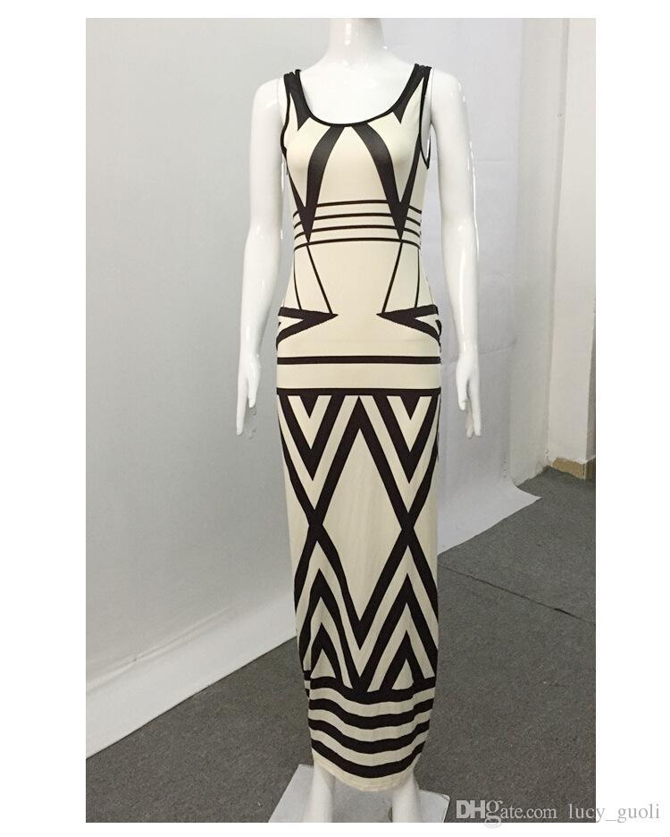 Women Geometric Print Summer Long Maxi Dress 2016 Fashion Casual Summer Sleeveless Bodycon Slim Party Dresses Vestidos White Plus size S-XL
