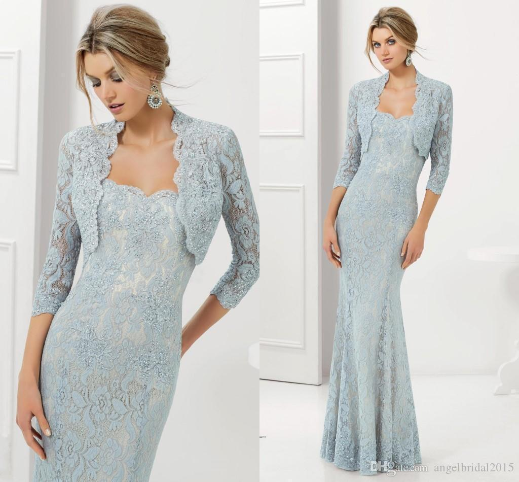 2016 Lace Mermaid Mother Of The Bride Dresses Groom: 2016 Mermaid Light Blue Lace Mother Of The Bride Dresses