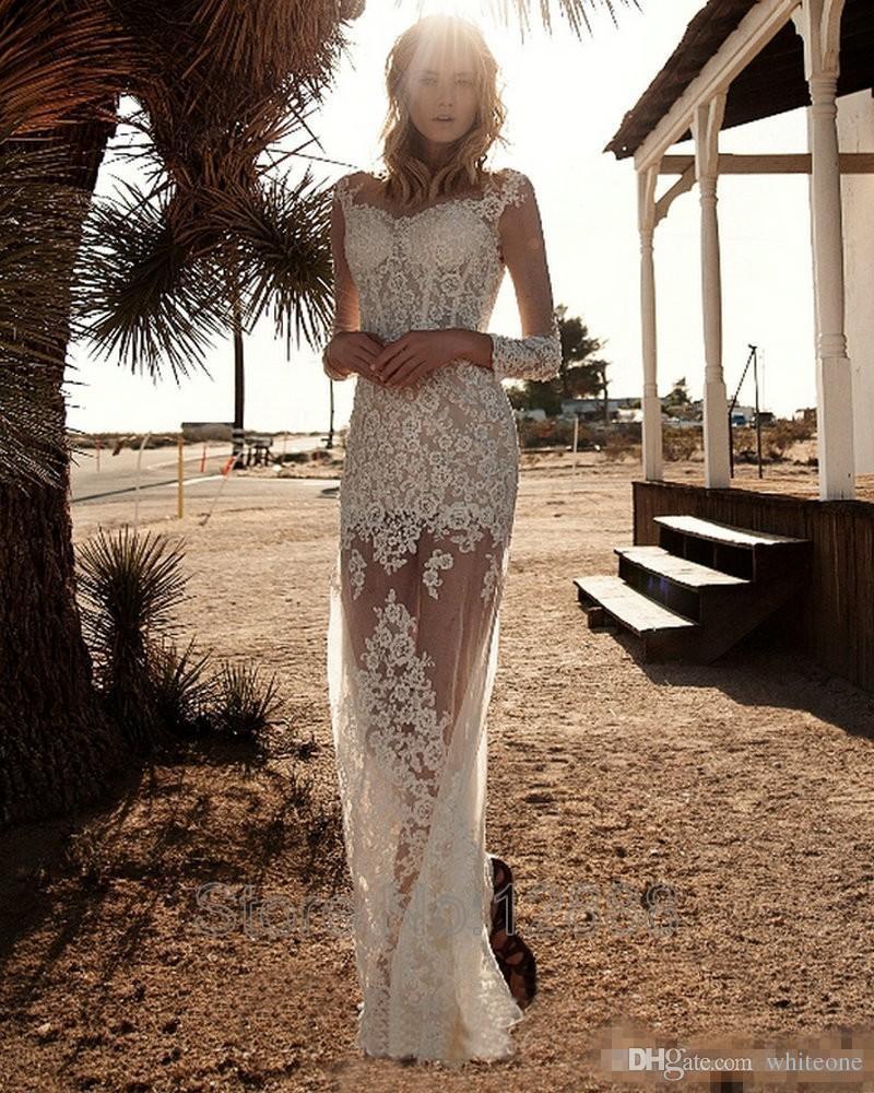 2016 Zuhair Murad Sheath Wedding Dresses Sheer Long Sleeves Lace Appliques Overskirts Train See Through Summer Beach Garden Bridal Gowns