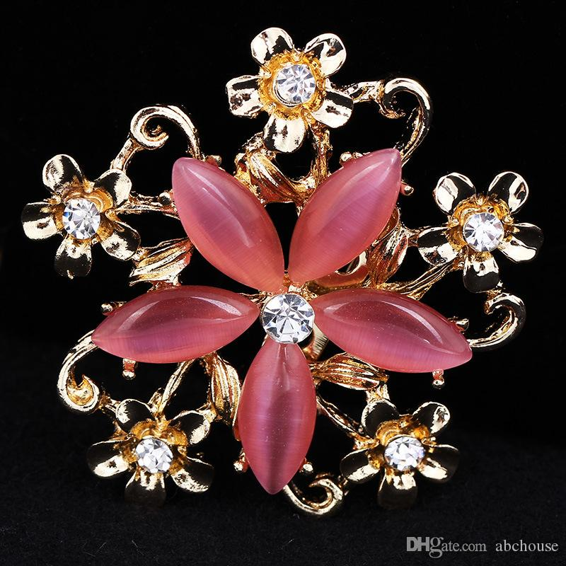 Top High Quality Fashion Flower Brooches Crystal Opal Brooch Pins ... cd6030d74bde