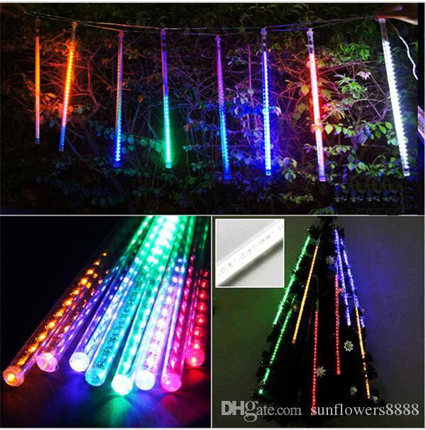 높은 품질 20CM 30CM 50CM / 설정 유성우 비가 튜브 LED 크리스마스 불빛 웨딩 파티 가든 라이트 AC100-240V EU 미국 플러그
