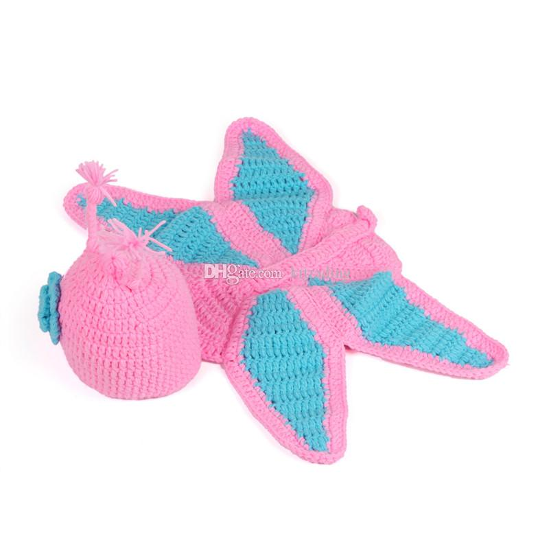 Baby Crochet Cute Hooded Cape hat sets Butterfly Turtle Bees Santa Little Dinosaur costume Animal hats for Newborns photo props