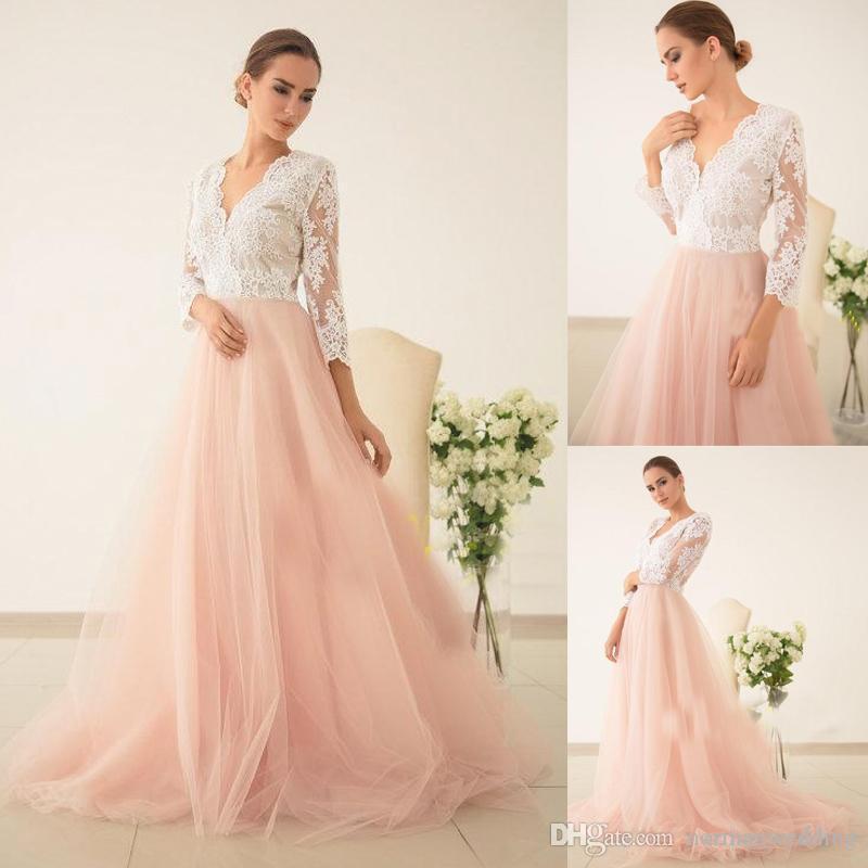 Exquisite Peach Evening Dresses With Three Quarter Sleeves V Neck ...