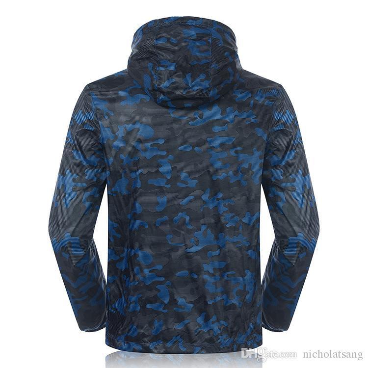 2016 verano de los hombres deportes al aire libre correr rompevientos camuflaje impermeable chaqueta transpirable de manga larga anti-ultravioleta que acampa escalada prendas de vestir exteriores