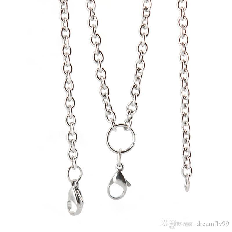 10 stücke 28 '' 316L edelstahl 1,0mm 3,6mm flachkabel O jumpring kette halskette für lebende glas medaillons öl Diffusor Medaillon
