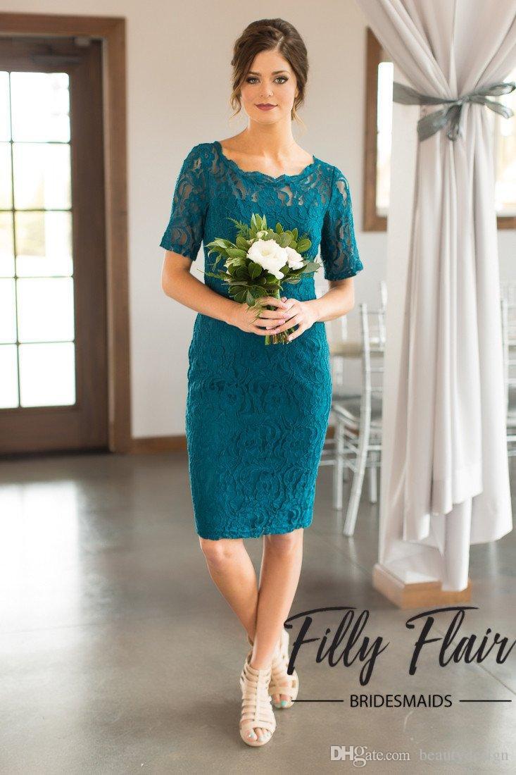 2018 Yeni Batı Stil Zarif Hunter Diz Boyu anne Gelinler Elbiseler Klasik Topuk Ve Kısmen Kollu Ile Dantel Anne törenlerinde
