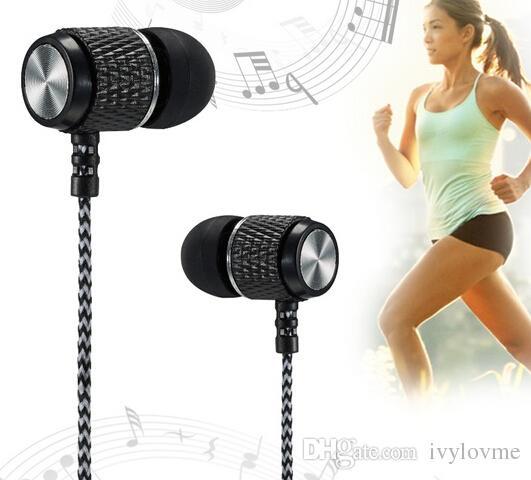 In-ear Stereo Earphone Earbuds Headphones Reflective Fiber Cloth Line Metal Noise Isolating Headset 3.5mm Jack Standard