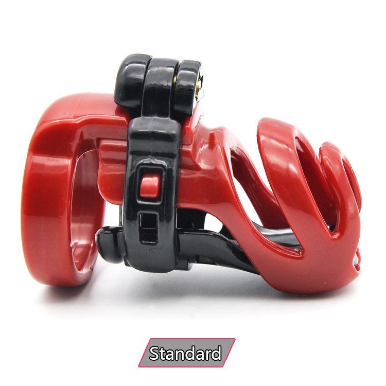 Доктор Мона Лиза - Новое поступление мужской прокол смолы PA Красный Черный Целомудрие Кейдж Устройство Пояс с четырьмя кольцами Kit Бондаж SM Toys
