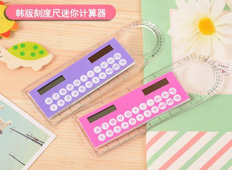 Envío gratis whiilesale regla de 10 cm Creativo lindo mini calculadora portátil estudiante cuenta de cuello blanco multifunción calculadora