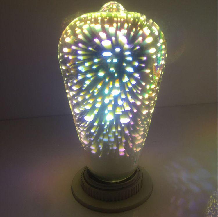 ST64 G80 G95 5W Fireworks лампа Светодиодная лампа накаливания E27 декоративный цвет 3D Эдисон лампочка для украшения дома праздник