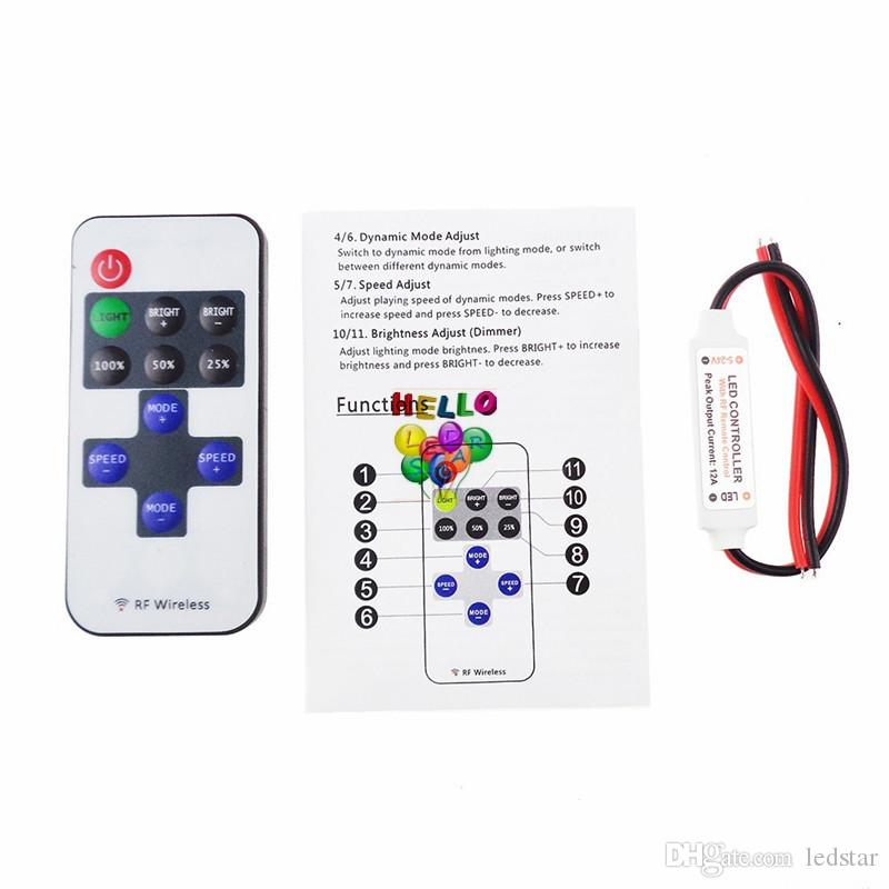 Controllore di luce a strisce LED 11key Telecomando wireless a radiofrequenza regolabile Alimentazione 12V 24 V Uscita 6 A DHL Free
