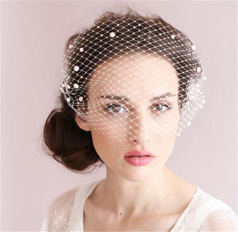 Vintage Wedding Bridal White Birdcage Veil Face Net Pearl Beaded Fascinator Comb Headdress Hair