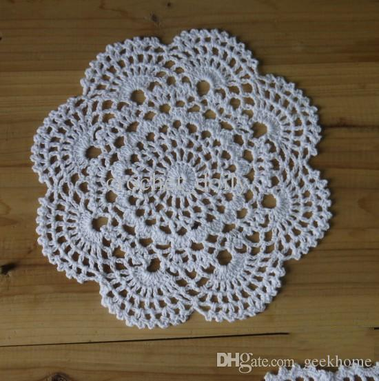 Handmade Crochet pattern 3 designs Crocheted Doilies cup Pad mats table cloth coasters round Dial 20cm Custom Colors