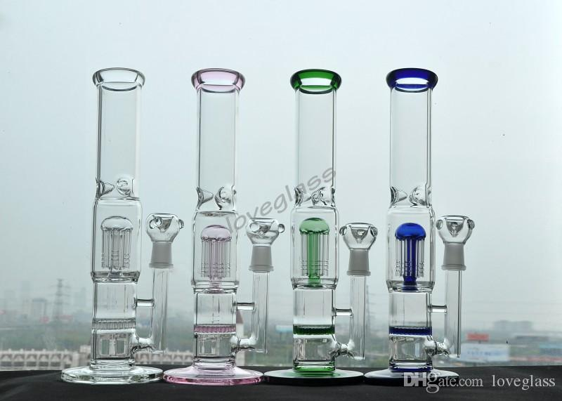 """four color Glass Water Smoking Pipe Percolator Pipes Honeycomb Disk Bong With Arm Tree Perc Vase 9.8"""" 12"""" Height Assorted"""
