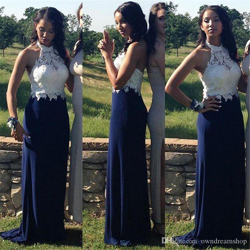 Sexy Halter Navy Blue Black Girls Mermaid Prom Dresses 2016 White Sheer Lace Neck Plus Size Long 2K16 Girls Formal Party Evening Gowns