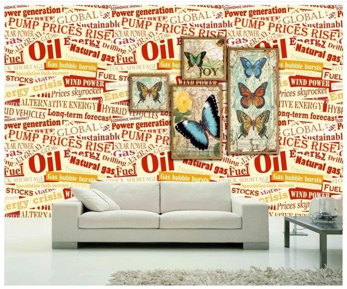 High end Personalizado 3d foto papel de parede murais papel de parede Inglês alfabeto borboleta 3d sala papel de parede fundo da parede decoração da sua casa